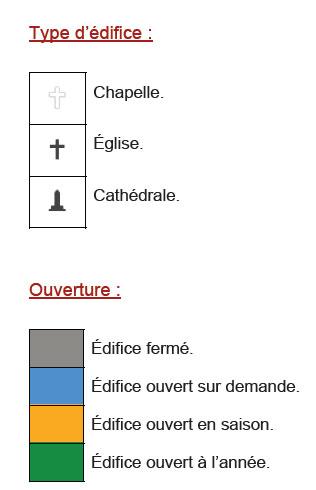 Légende de la carte du patrimoine religieux de Quimper et ses environs