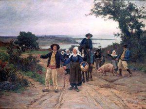 Théophile Deyrolle, l'arrivée au pardon de Fouesnant (musée des beaux-arts de Pau)
