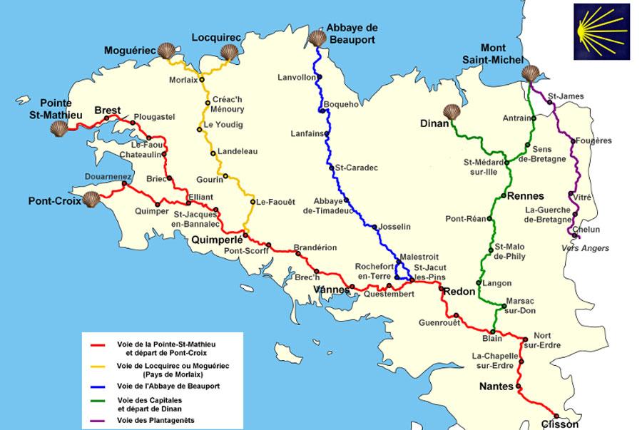 Carte des chemins de Saint Jacques de Compostelle en Bretagne