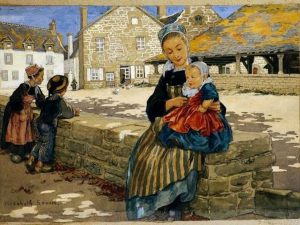 E. Sonrel, Femme et enfants sur la place des Halles du Faouët